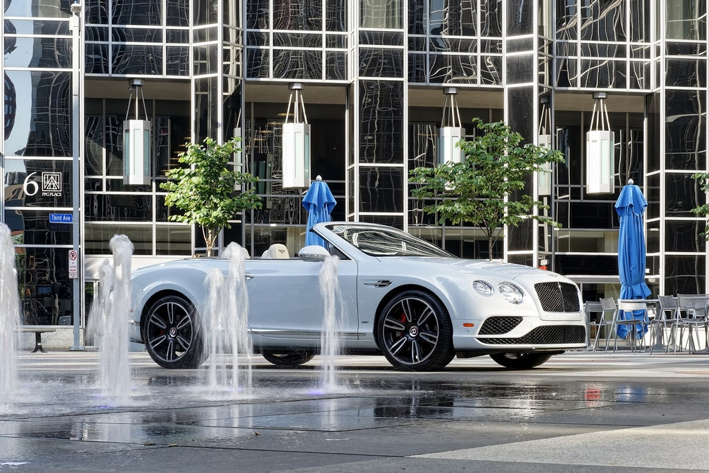 White Bentley Convertible Front Right Side