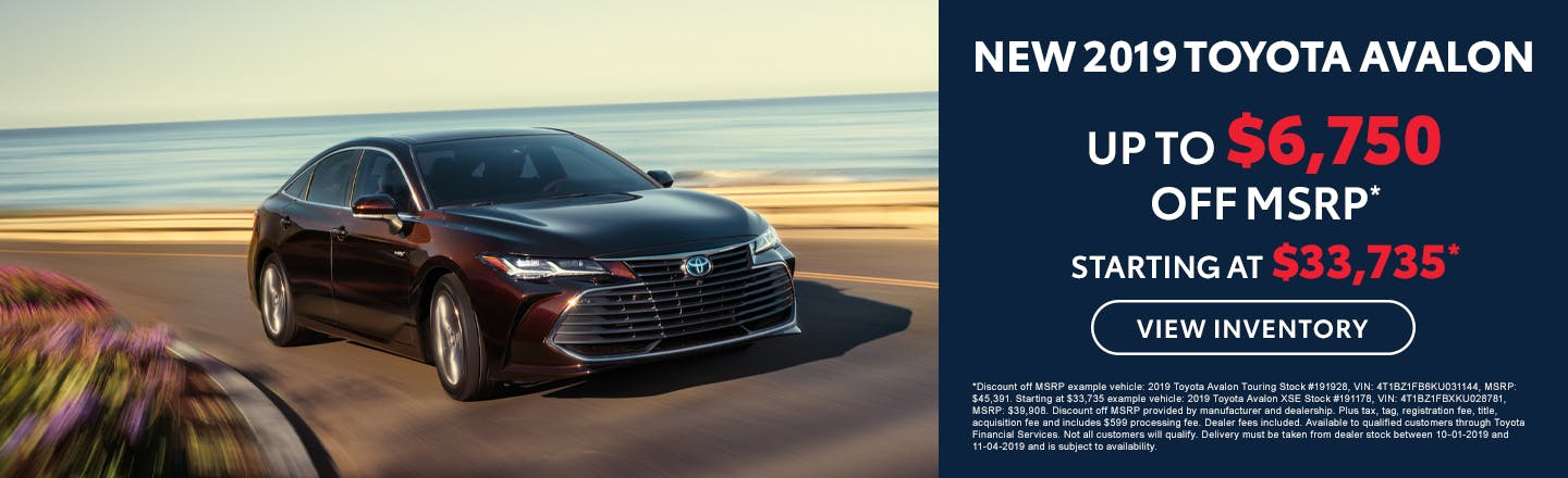 Get up to $6,750 off a new 2019 Toyota Avalon in Johnson City TN