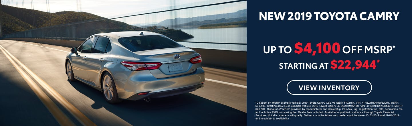 Get up to $4,000 off a new 2019 Toyota Camry in Johnson City TN