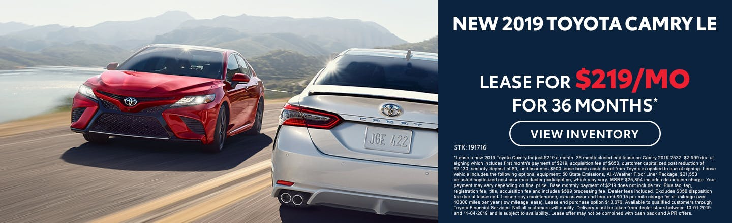 Lease a new 2019 Toyota Camry for $219 a month in Johnson City TN