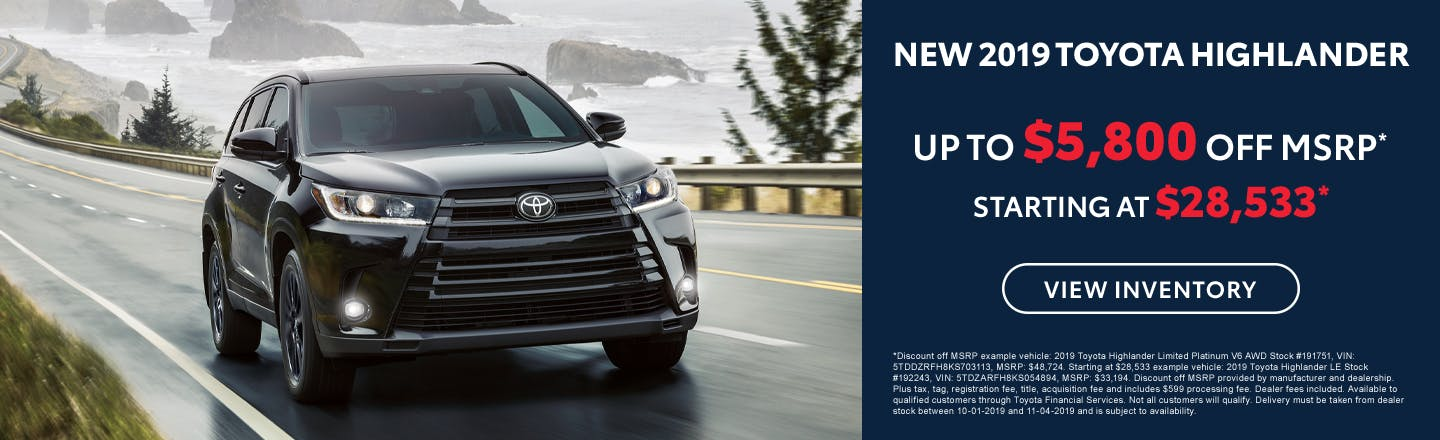 Get up to $5,800 off a new 2019 Toyota Highlander in Johnson City TN