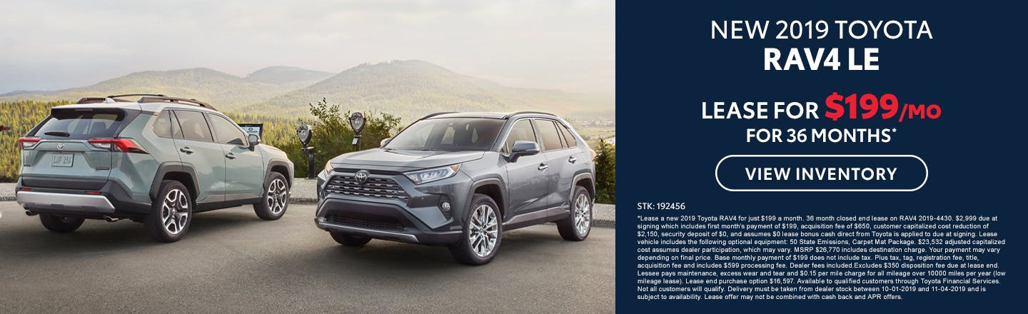 Lease a new 2019 Toyota RAV4 LE for just $199 a month in Johnson City TN