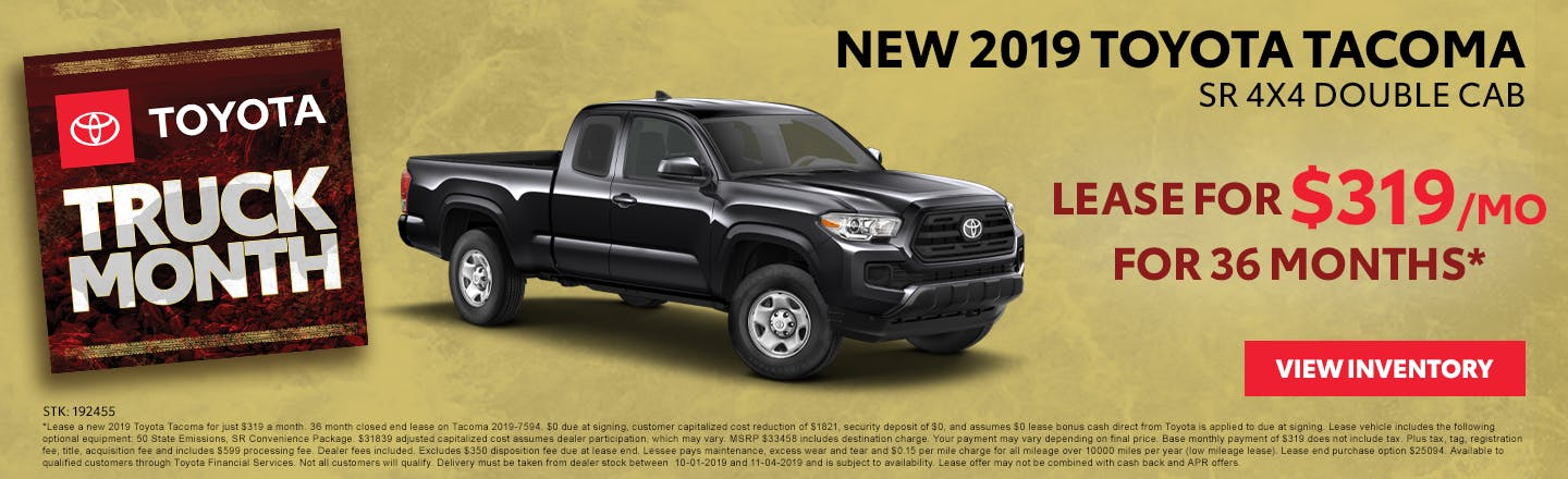 Lease a new 2019 Toyota Tacoma for just $319 a month in Johnson City TN