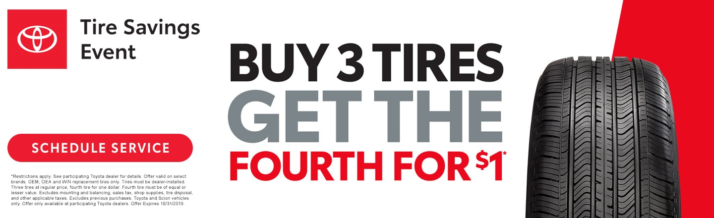 Buy three tires and get the fourth for $1 in Johnson City TN