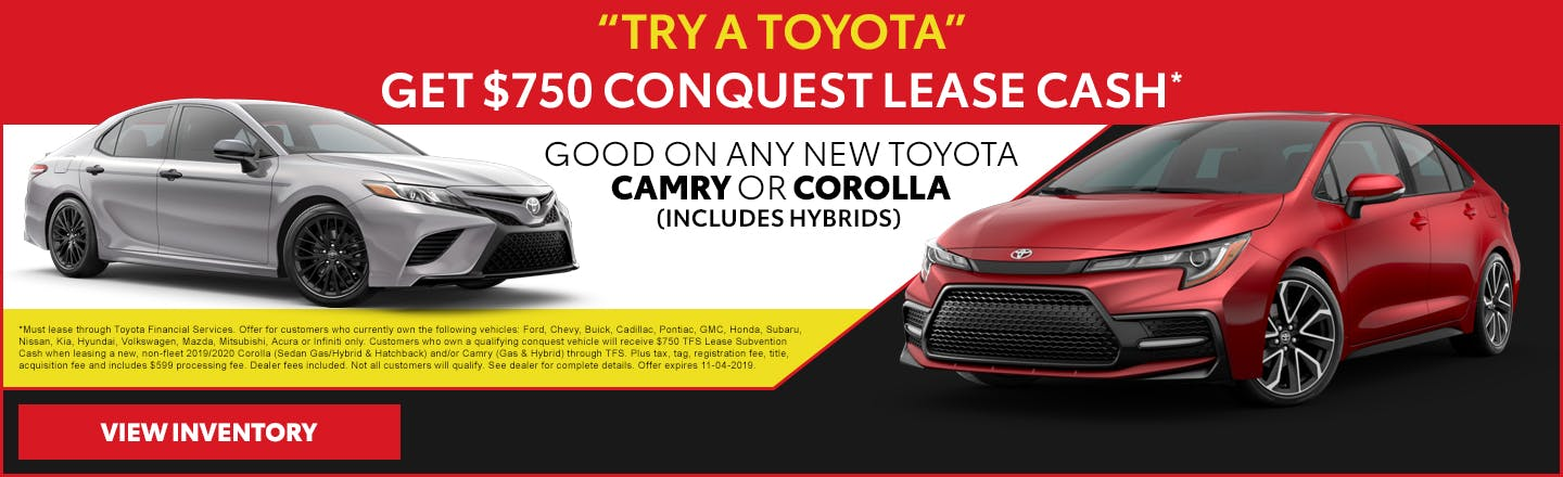 Get $750 lease cash on any new Toyota Camry or Corolla in Johnson City TN