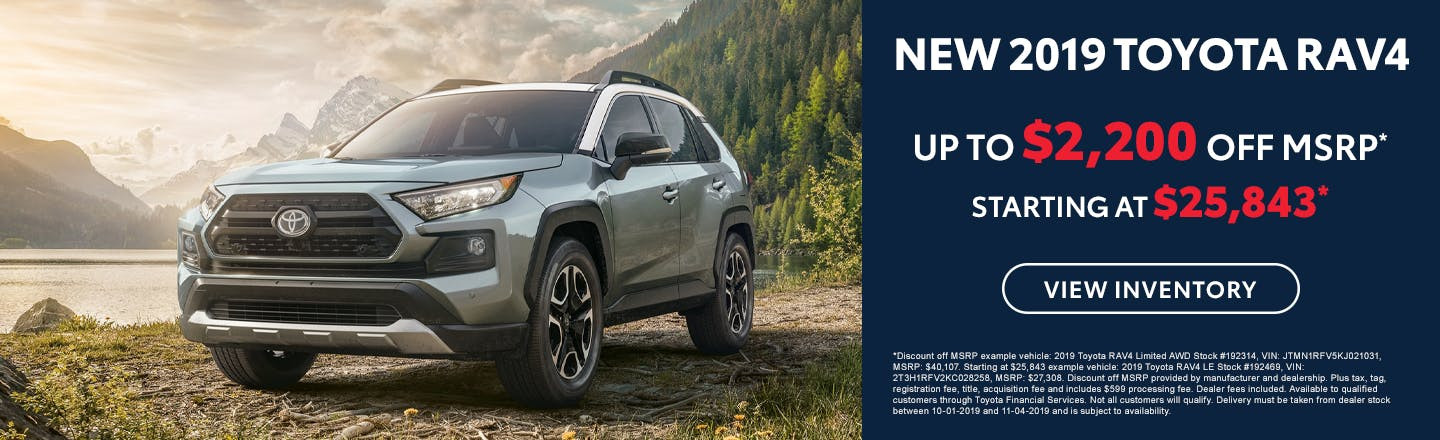 Get up to $2,200 off a new 2019 Toyota RAV4 in Johnson City TN