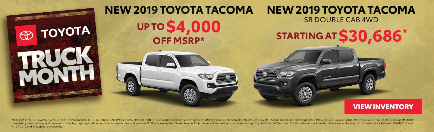 Get up to $4,000 off a new 2019 Toyota Tacoma in Johnson City TN