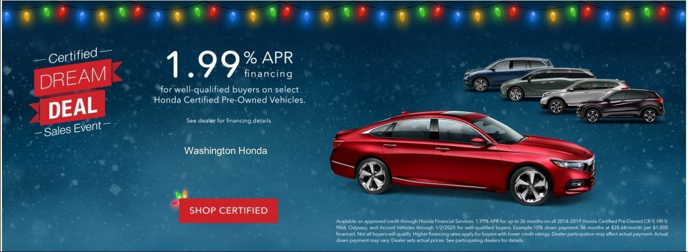Washington Honda Certified Used Vehicle Finance Offer