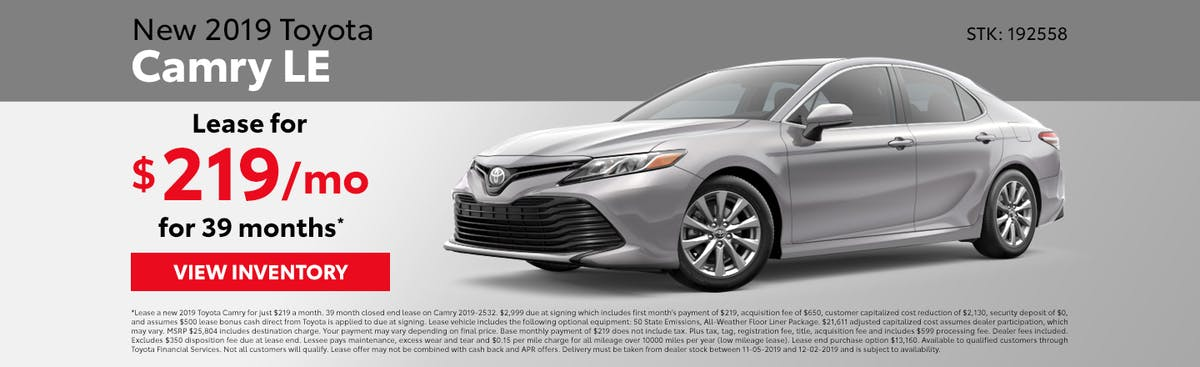 Lease a new 2019 Toyota Camry for just $219 a month in Johnson City TN