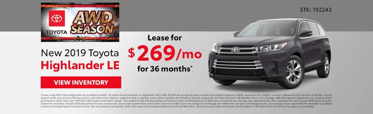 Lease a new 2019 Toyota Highlander for just $269 a month in Johnson City TN
