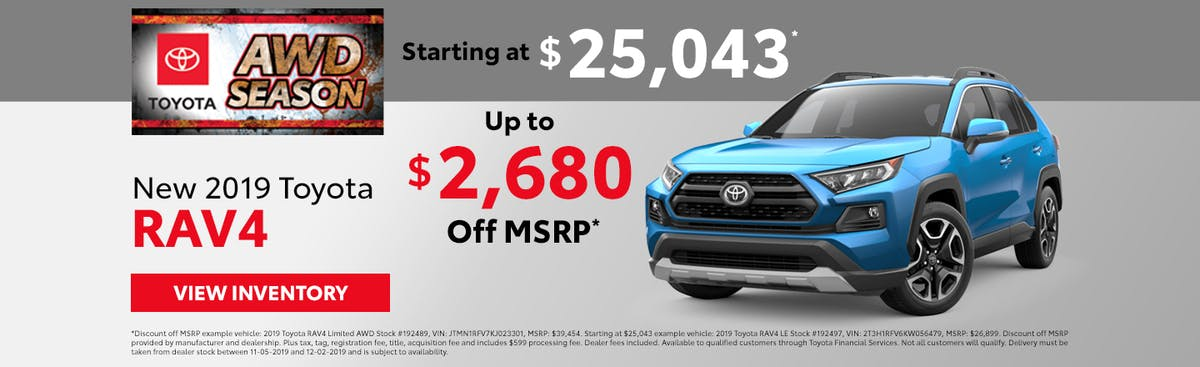Get up to $2,680 off a new 2019 Toyota RAV4 in Johnson City TN