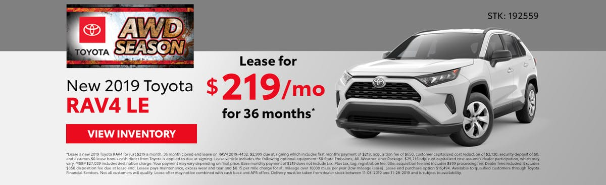 Lease a new 2019 Toyota RAV4 for just $219 a month in Johnson City TN