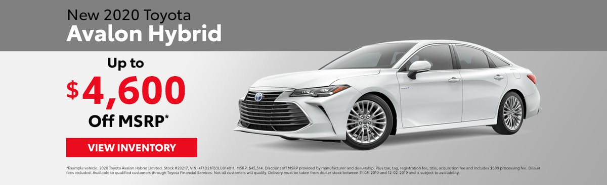Get up to $4,600 off a new 2020 Toyota Avalon Hybrid in Johnson City TN