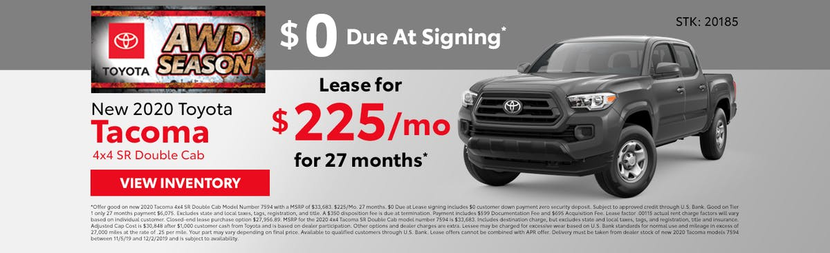 Lease a new 2020 Toyota Tacoma for just $225 a month in Johnson City TN