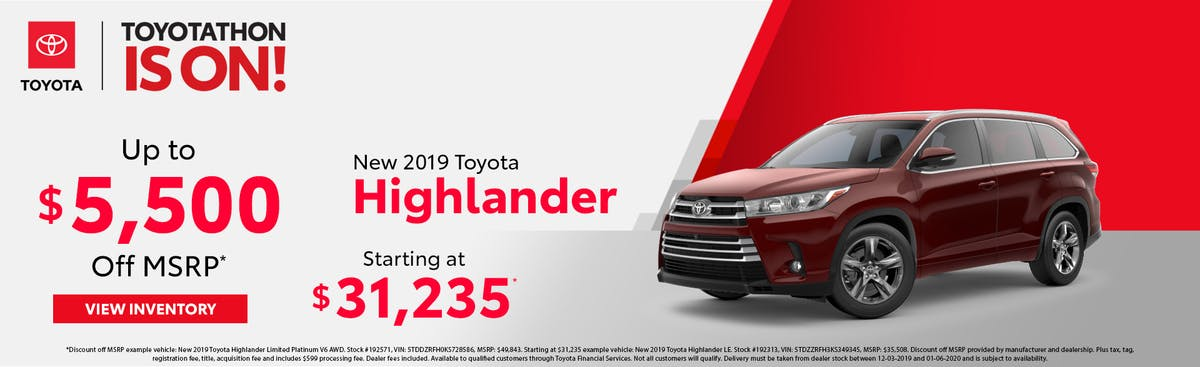 Get up to $5,500 off a new 2019 Toyota Highlander in Johnson City TN