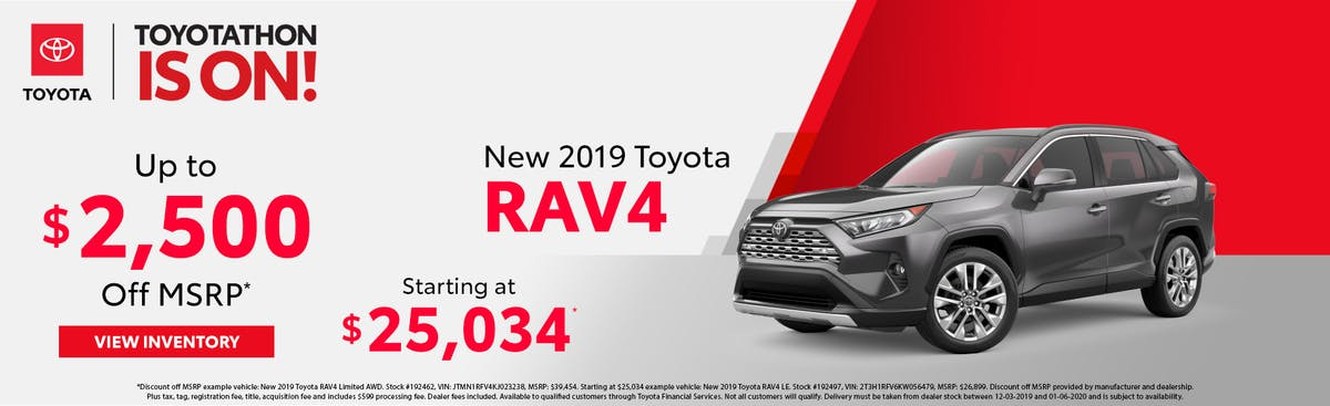 Get up to $2,500 off a new 2019 Toyota RAV4 in Johnson City TN