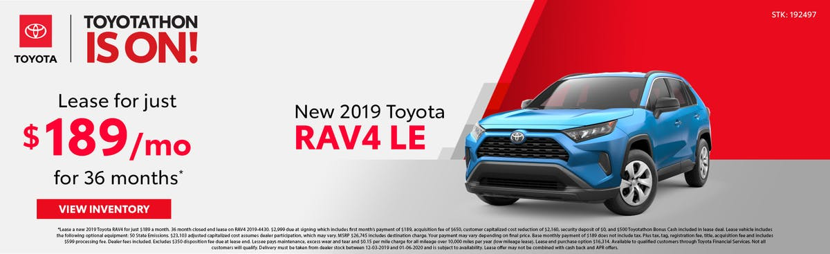 Lease a new 2019 Toyota RAV4 for just $189 a month in Johnson City TN