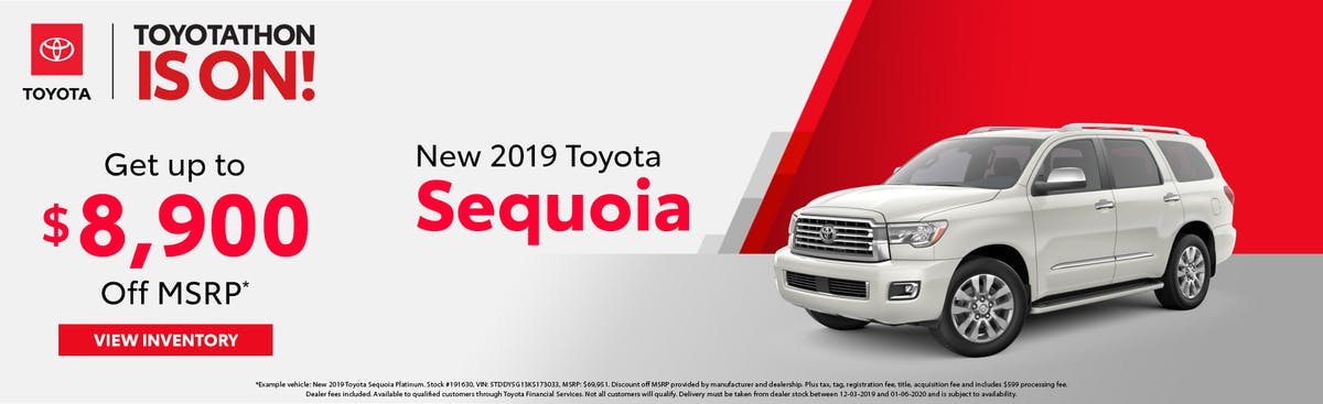 Get up to $8,900 off a new 2019 Toyota Sequoia in Johnson City TN