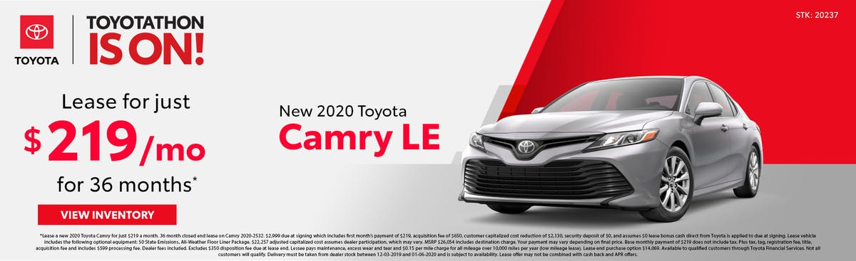 Lease a new 2020 Toyota Camry for just $219 a month in Johnson City TN