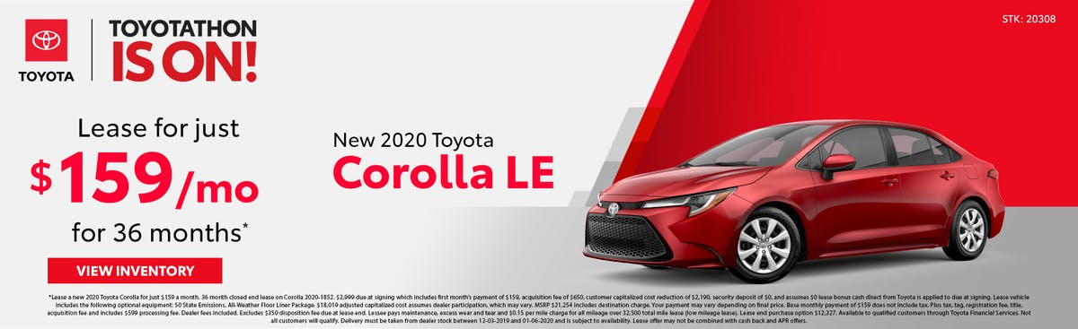 Lease a new 2020 Toyota Corolla for just $159 a month in Johnson City TN