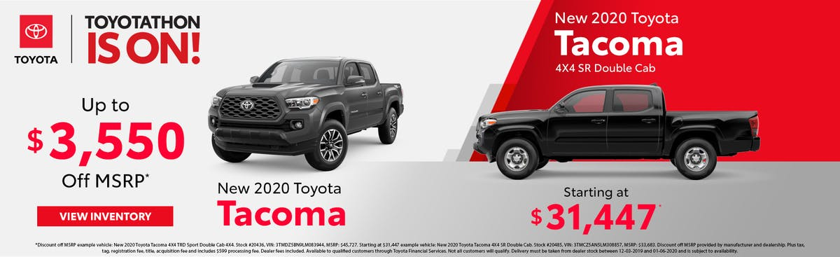 Get up to $3,550 off a new 2020 Toyota Tacoma in Johnson City TN