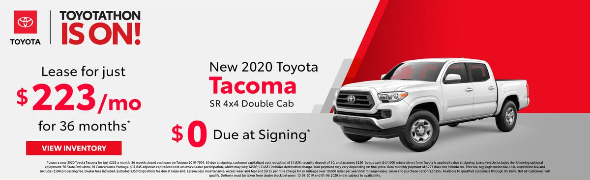Lease a new 2020 Toyota Tacoma for just $223 a month with $0 down in Johnson City TN