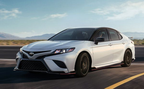 toyota camry - white exterior - front view - blog post image
