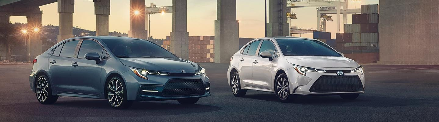 Two 2021 Toyota Corollas parked