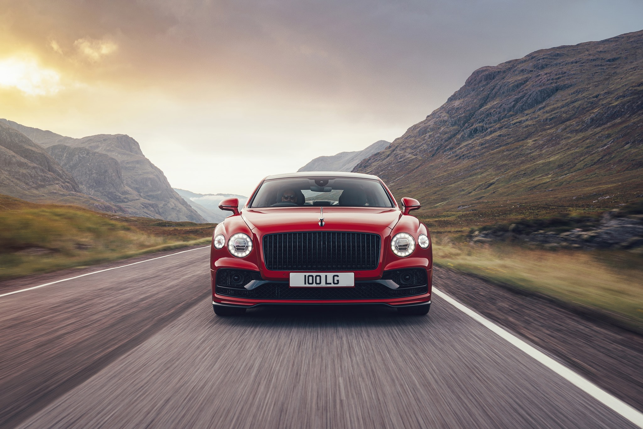 red bentley front grille view