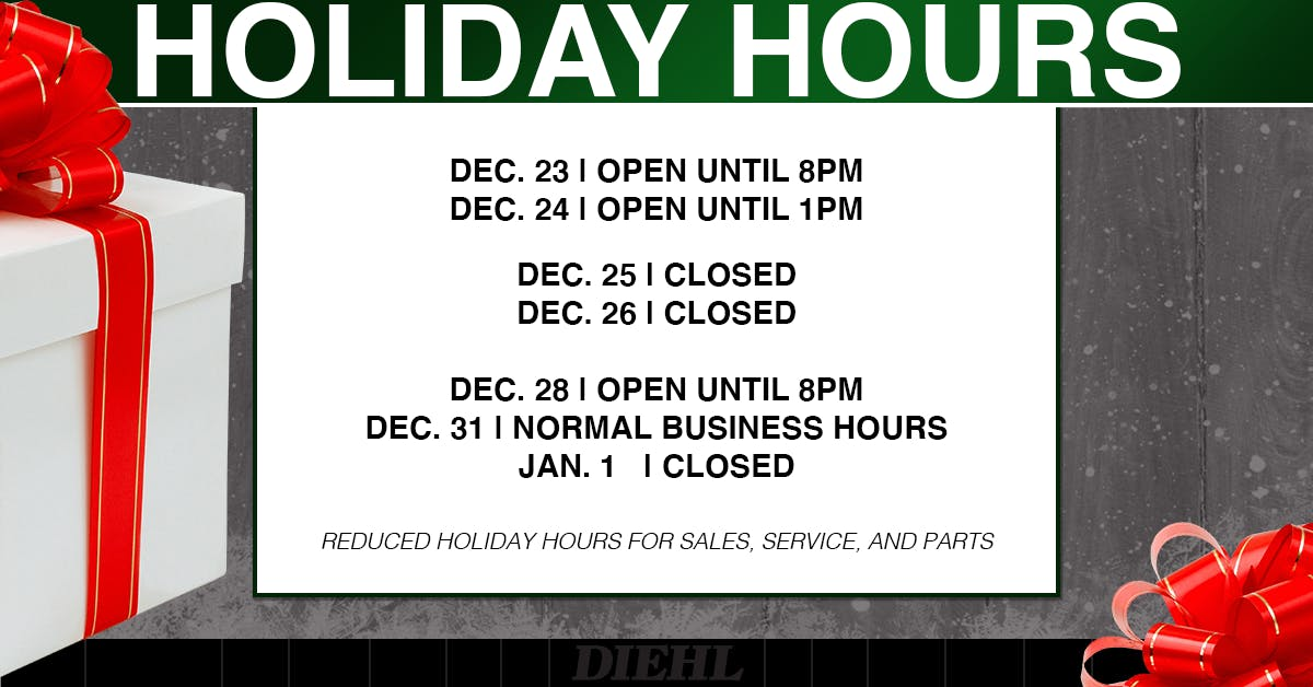 diehl mitsubishi butler pa holiday hours thanksgiving christmas new years