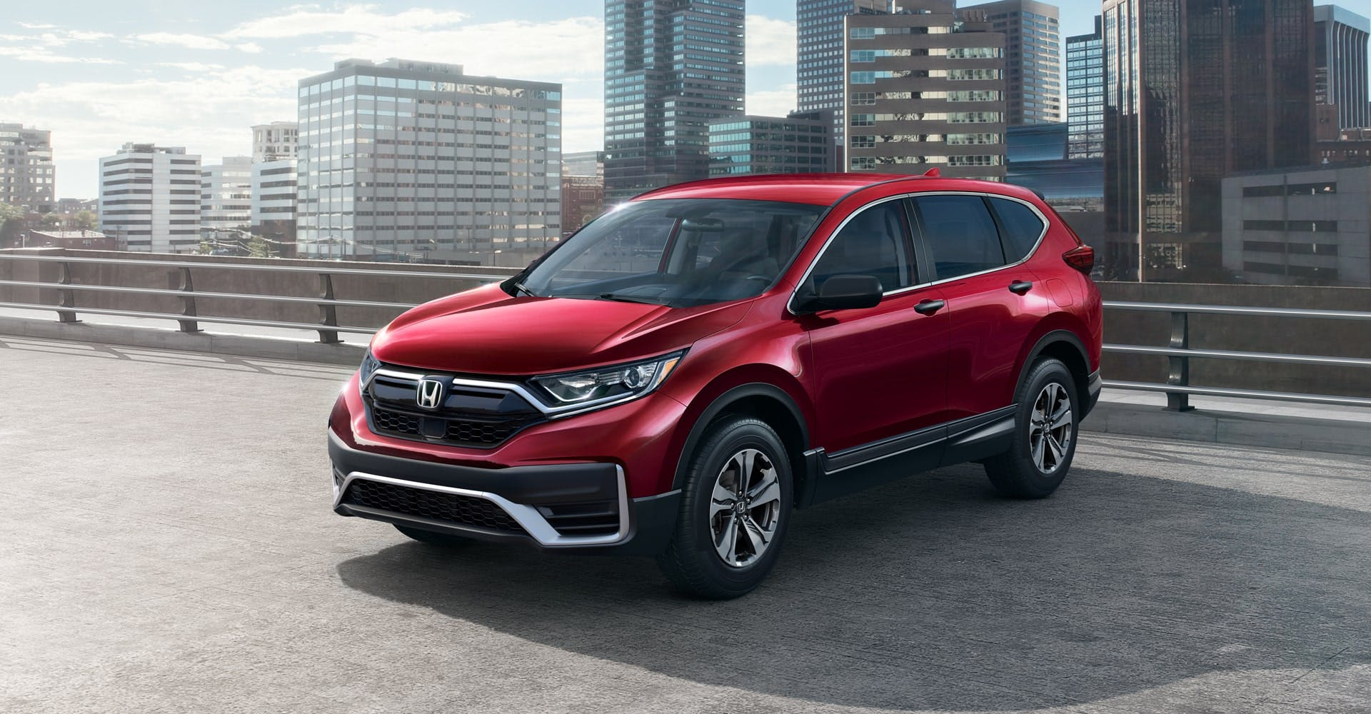red honda cr-v - front view