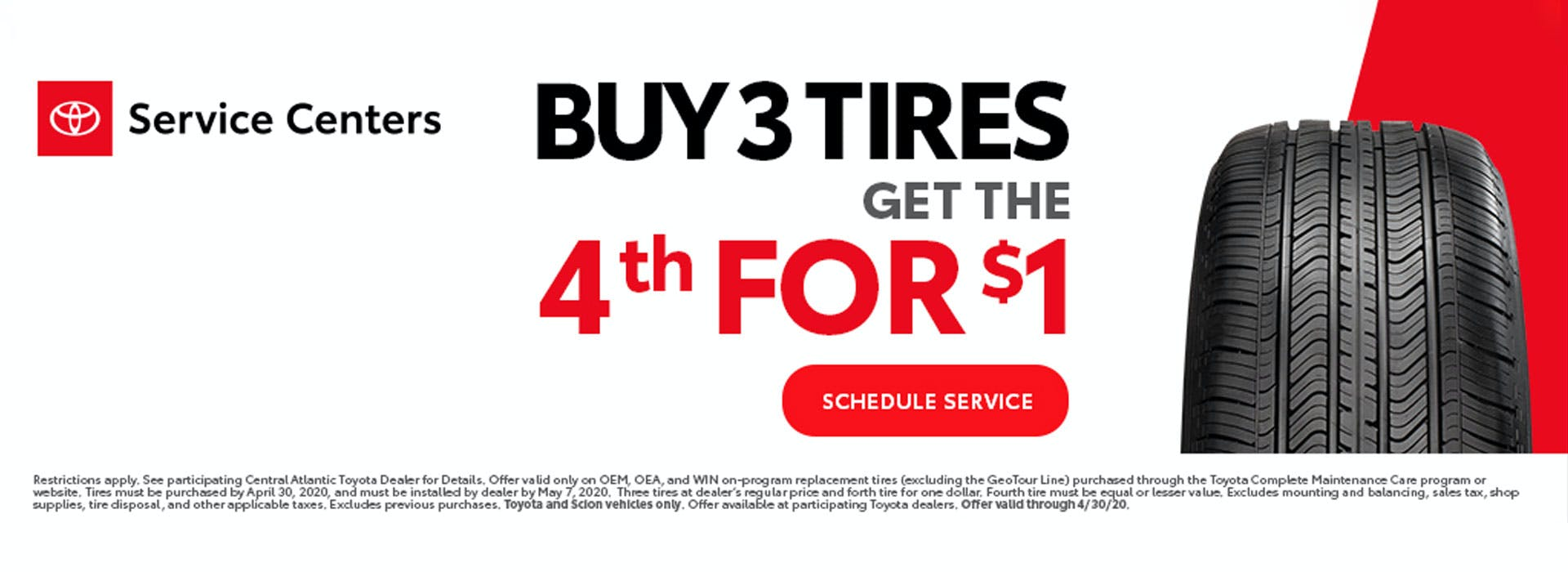 toyota service centers - buy 3 tires, get the fourth for $1